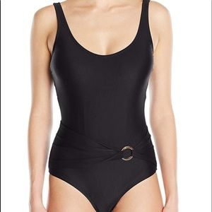 Woman's Swimwear One Piece Belted Solid Size  12